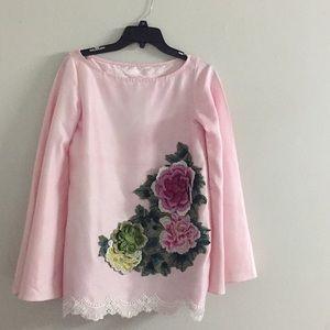 Vintage rose flare silk tunic Eid kurta